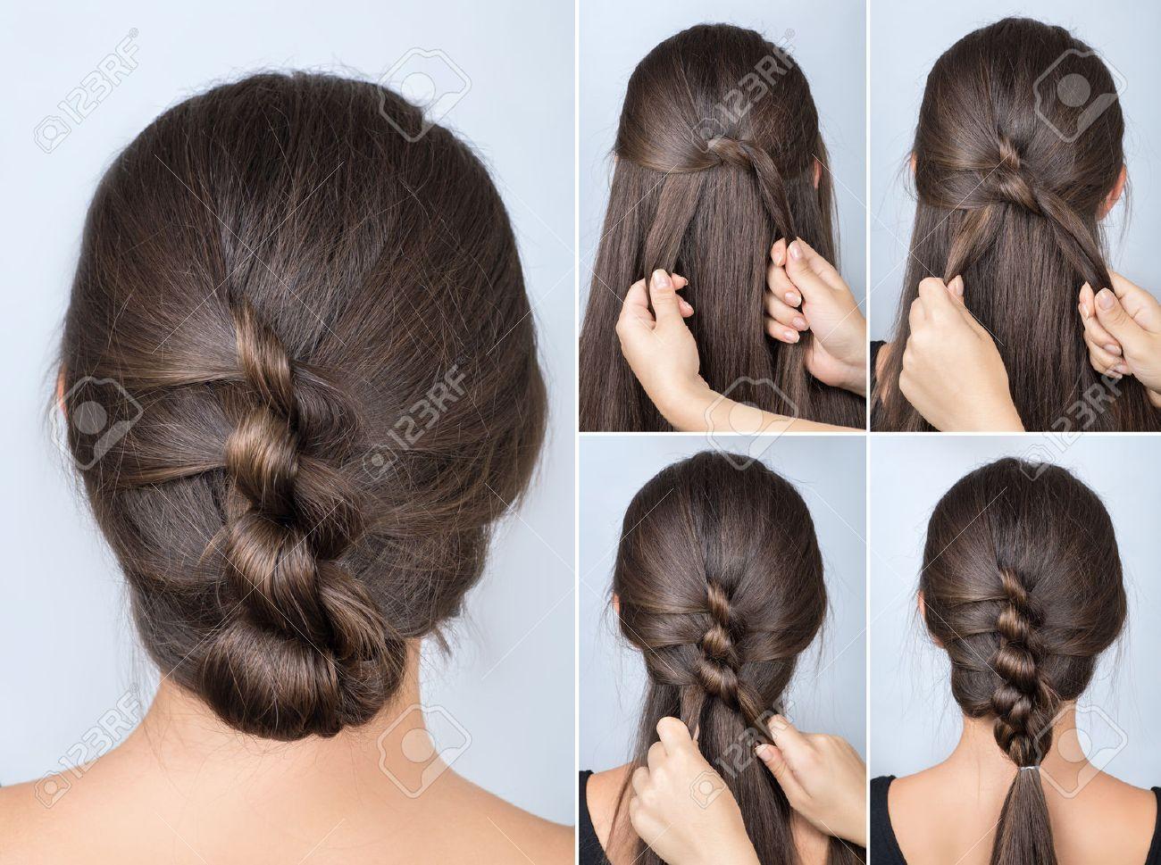 Simple Twisted Hairstyle Tutorial Easy Hairstyle For Long Hair Hairstyle Of Twisted Knots Hairstyle Tutorial Stoc Mit Bildern Frisuren Frisur Hochgesteckt Neue Frisuren