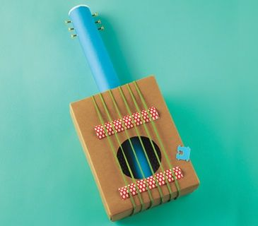 How to make a shoe box guitar guitar crafts craft for Cool things to make with household items