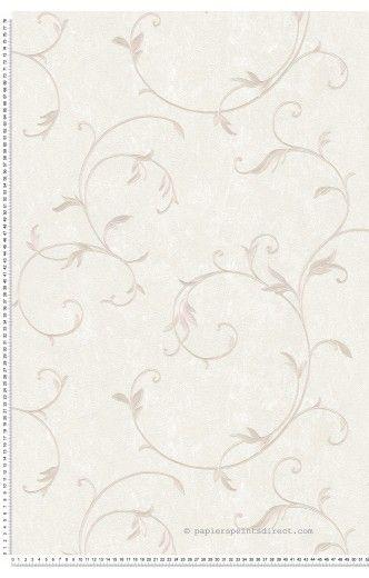 Feuillage classique satiné grège - Papier peint Romantica 3 d\'AS ...