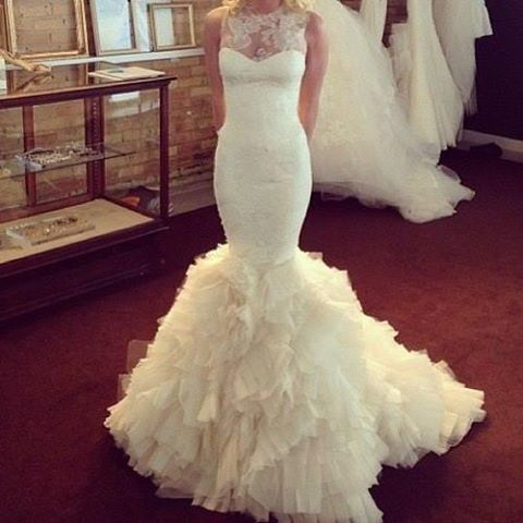 Charming Lace Mermaid Wedding Dress ,Organza Ruffles Wedding Dress ,Wedding Dress for Bride,Bridal Dress for Women ,Mermaid Bridal Gowns,Lace Bridal Gowns,Organza Wedding Dress,Wedding Dress Plus Size ,Wedding Dress Costume ,Lace Mermaid Bridal Gowns with Ruffles