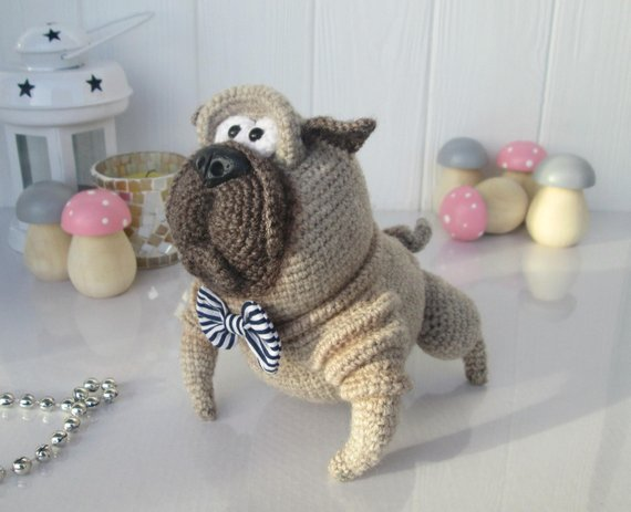 Crochet Pug Dog Pug Puppy Knitted Pug Dog Amigurumi Pug Dog