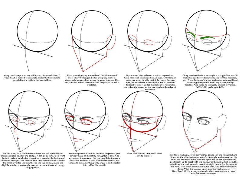 Male Head Tutorial By Seranalu Drawing Tutorial Guy Drawing Tutorial