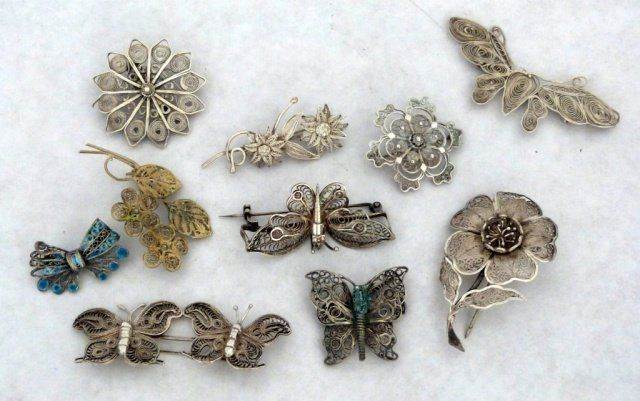 Group of Ten Assorted Silver/Metal Filagree Brooches : Lot 168
