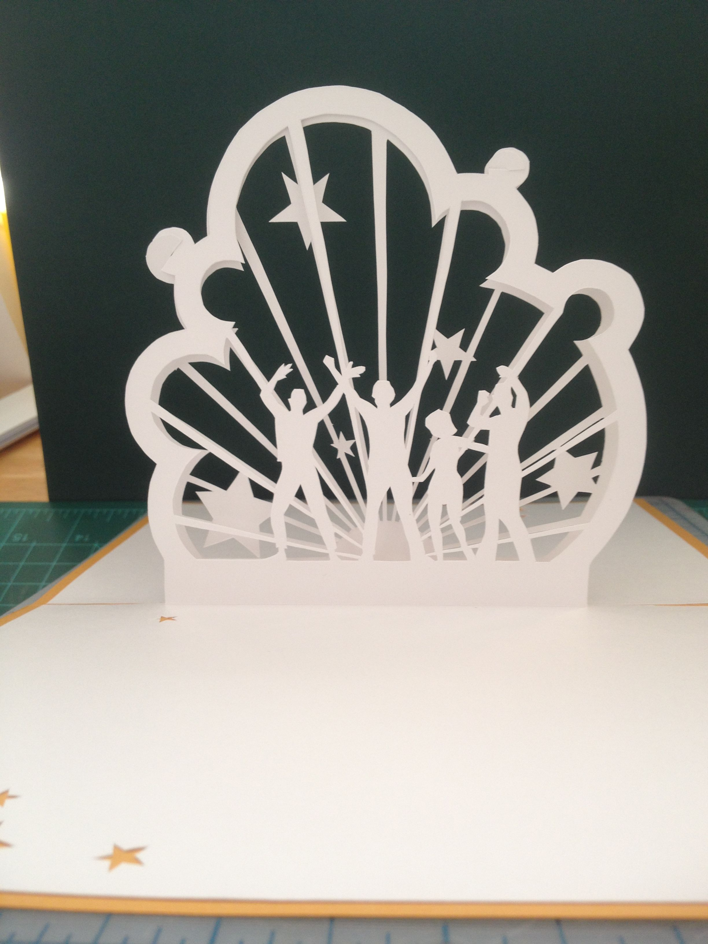 dance party pop up card template from cahier kirigami harmonies