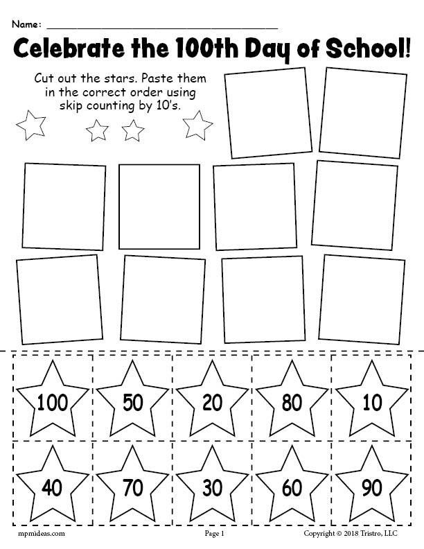 Printable 100th Day of School Skip Counting By 10's Worksheet!