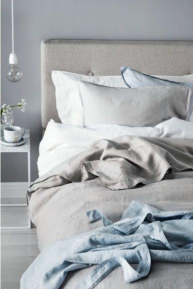 Washed Linen Duvet Cover Set Light Grey Home All H M Gb Duvet Cover Sets Linen Duvet Linen Duvet Covers