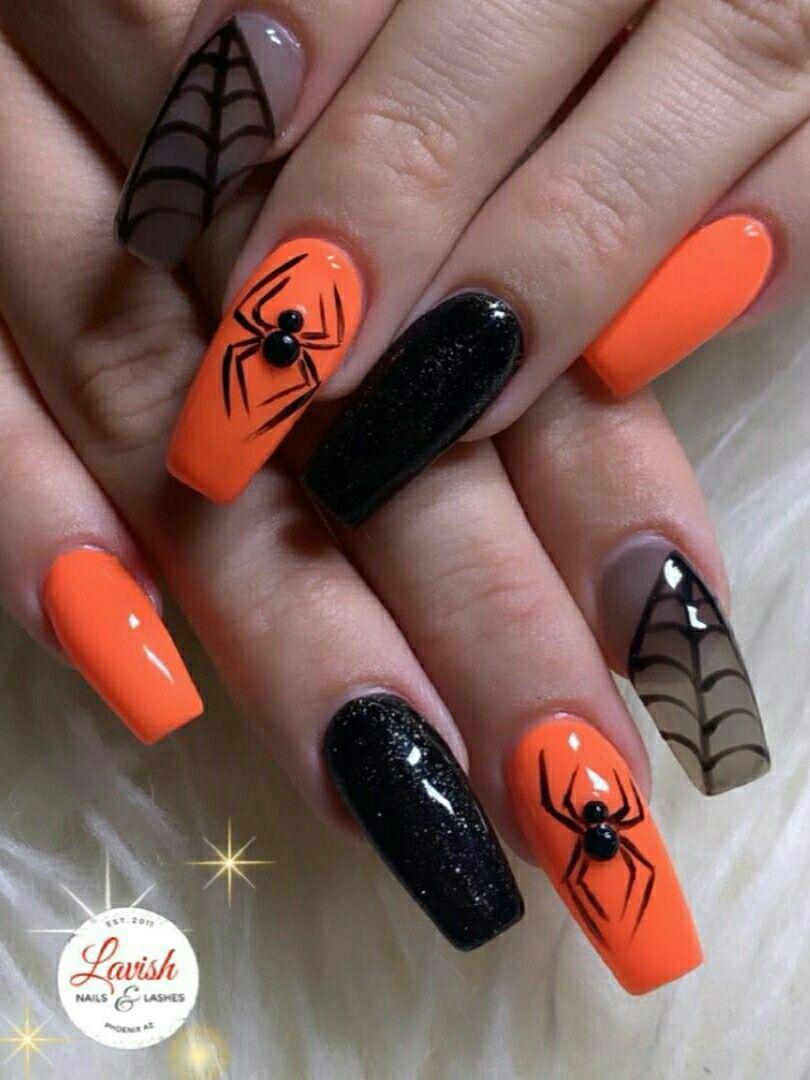 Halloween Spider Web Nails Set 2019 Candy Corn Nails Pumpkin Nails Halloween Nail Designs