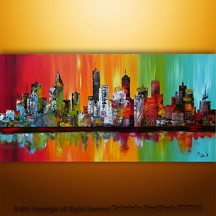 Large Painting Abstract Original Modern Cityscape Art By