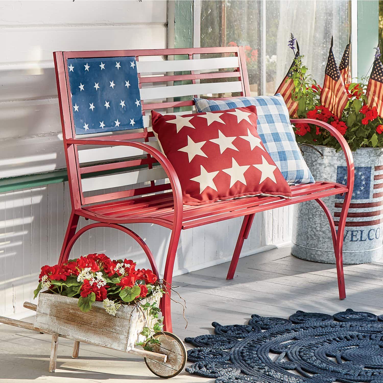 Flag Bench Country Door American Flag Decor Blue Patio Furniture Blue Decor