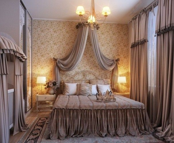 Bedroom Designs, Opulent Romantic Bedroom Design 2013 Chandelier Gorden Fur  Rug Bed Cover: Amazing Bedrooms with Traditional Elegance