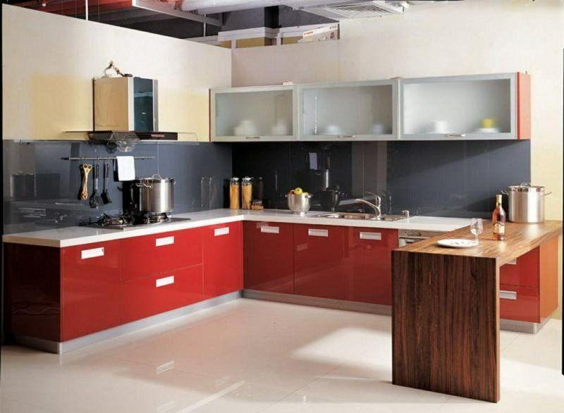 cuisine-rouge-grise-credence-cuisine-grise-armoires-basses-rouges - Photo Cuisine Rouge Et Grise
