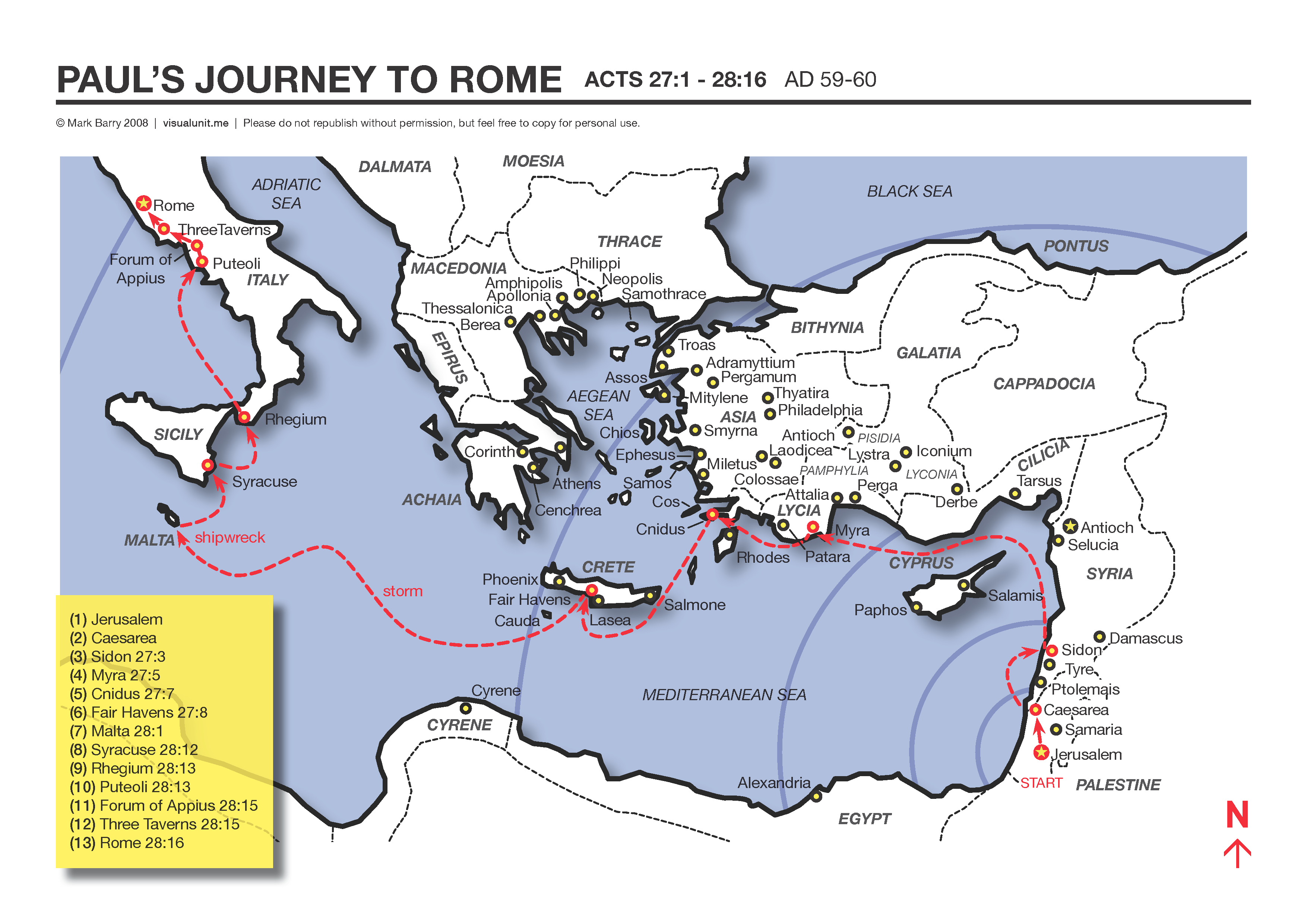 A map showing the apostle pauls journey to rome to face caesar a map showing the apostle pauls journey to rome to face caesar acts 271 2816 ad 59 60 pdf version 330 kb gumiabroncs Image collections