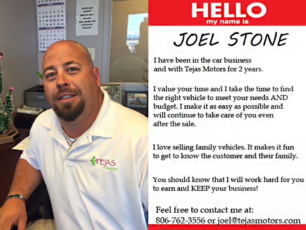 Meet our Team Member Joel Stone at Tejas Motors in Lubbock