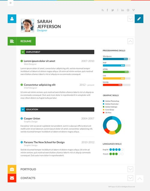Shiftcv  Blog Resume Portfolio Wordpress S Vcard