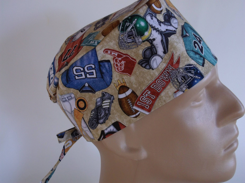 Football Season Men s Surgical Scrub Hat with sweatband option - scrub cap 960df4f1f980