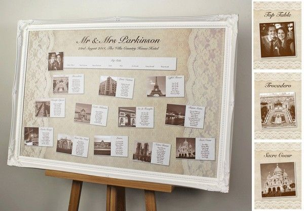 Lace wedding table plan with personal photographs in vintage sepia ...