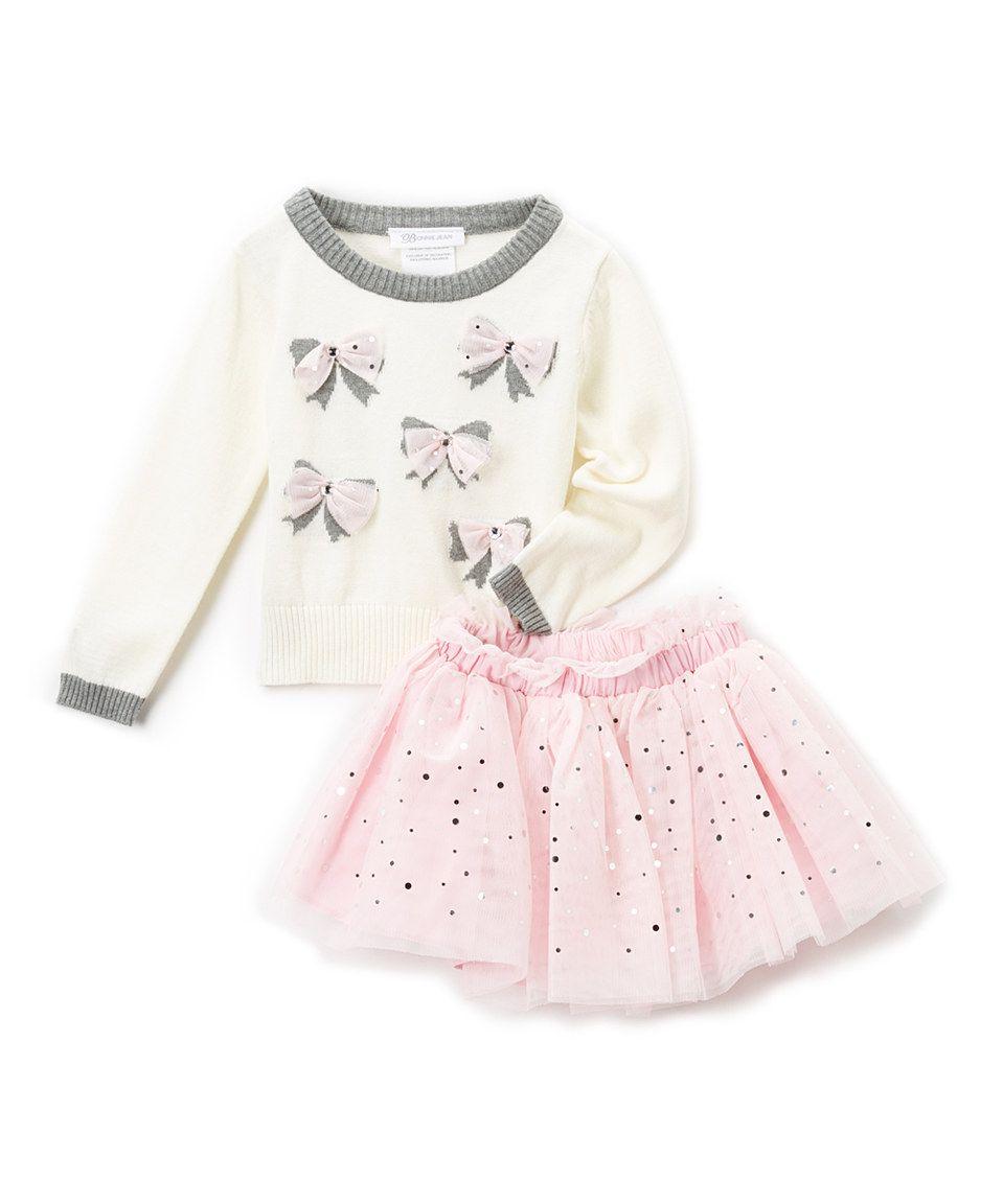 Silver & Ivory Sequin-Accent Bow Sweater & Skirt - Toddler & Girls by Gerson & Gerson #zulily #zulilyfinds