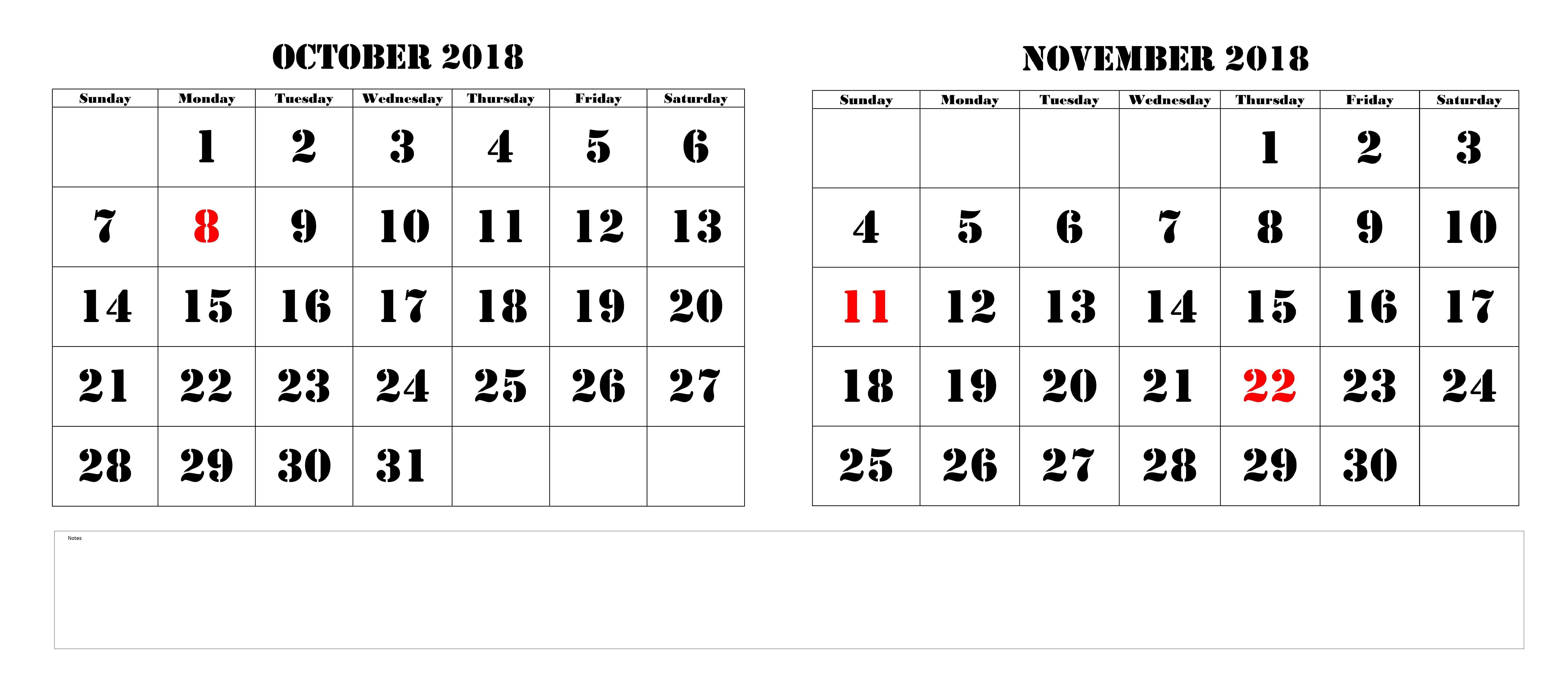 Calendar October November 2018 Printable November October