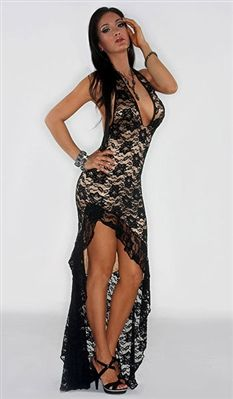 b87581d9a89a0 Flamenco - High slit lace ruffle dress by Kamala Collection Sexy Evening  Gowns