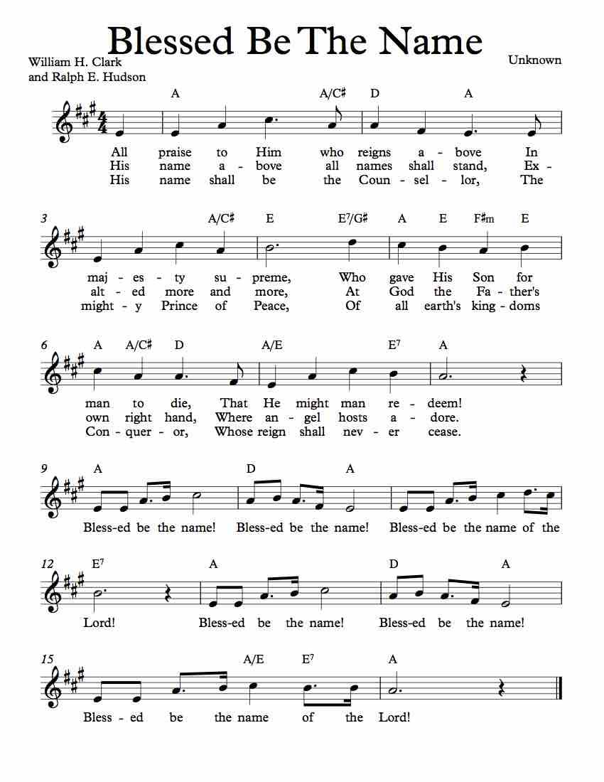 Free Sheet Music For Blessed Be The Name Enjoy With Images