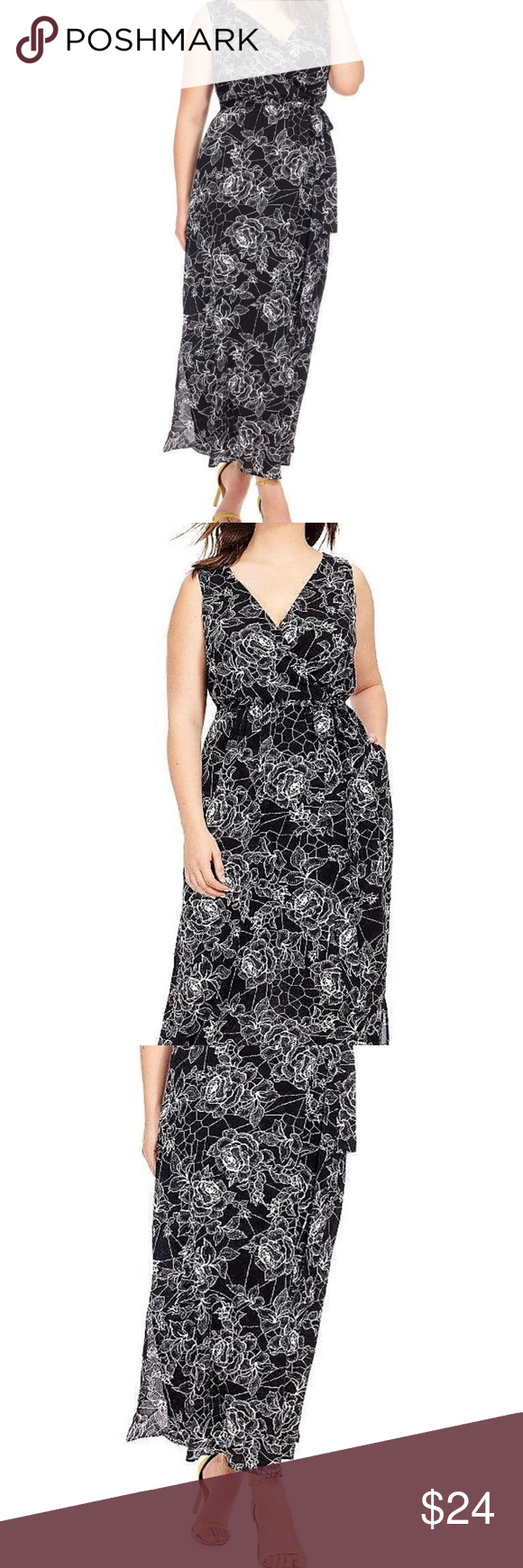 aa634aeaa030c CITY CHIC black white floral ROSE CAGE MAXI DRESS NWOT CITY CHIC SOLD ON  GWYNNIE BEE