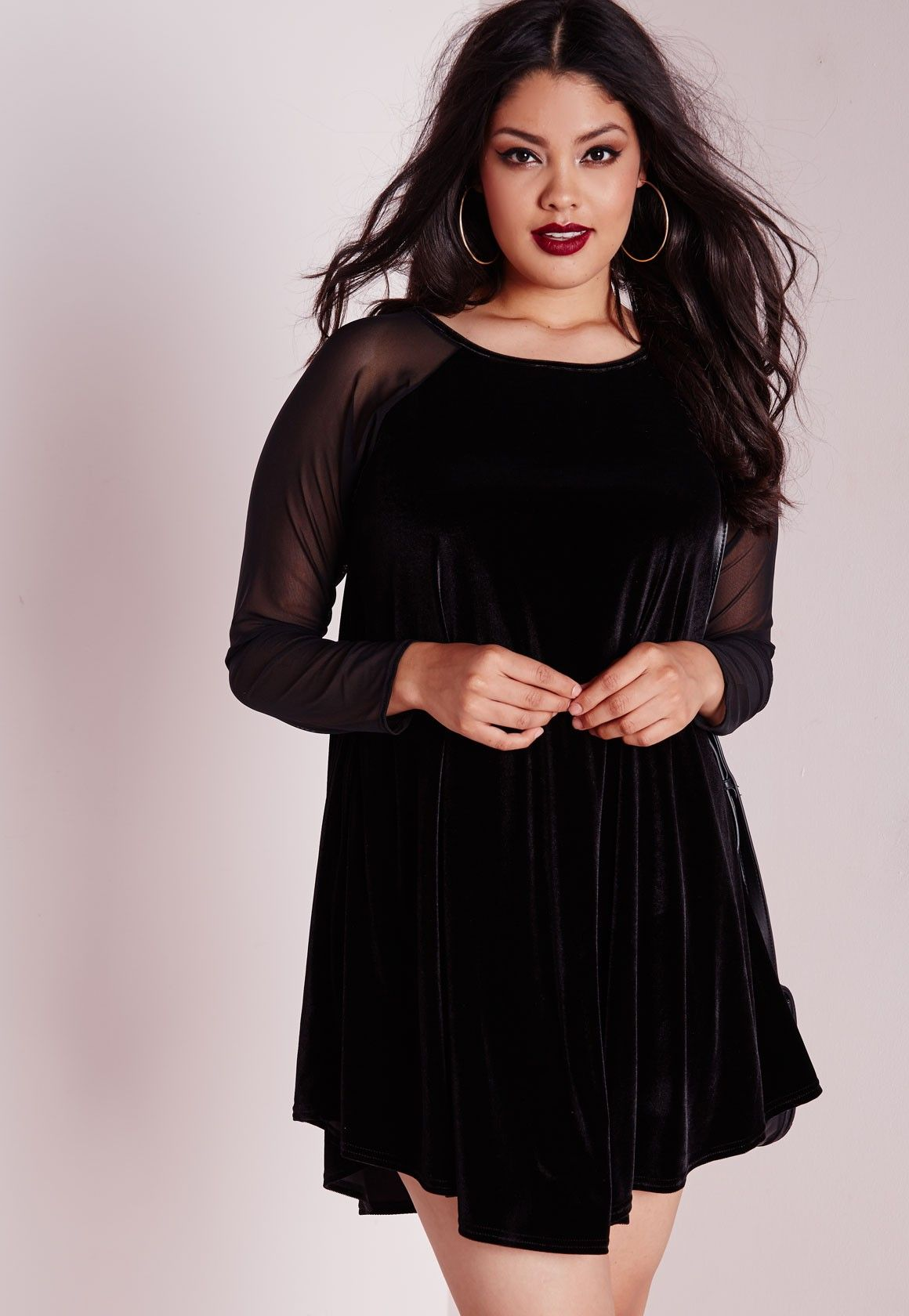 2f447c5c0 Missguided - Plus Size Velvet Raglan Sleeve Swing Dress