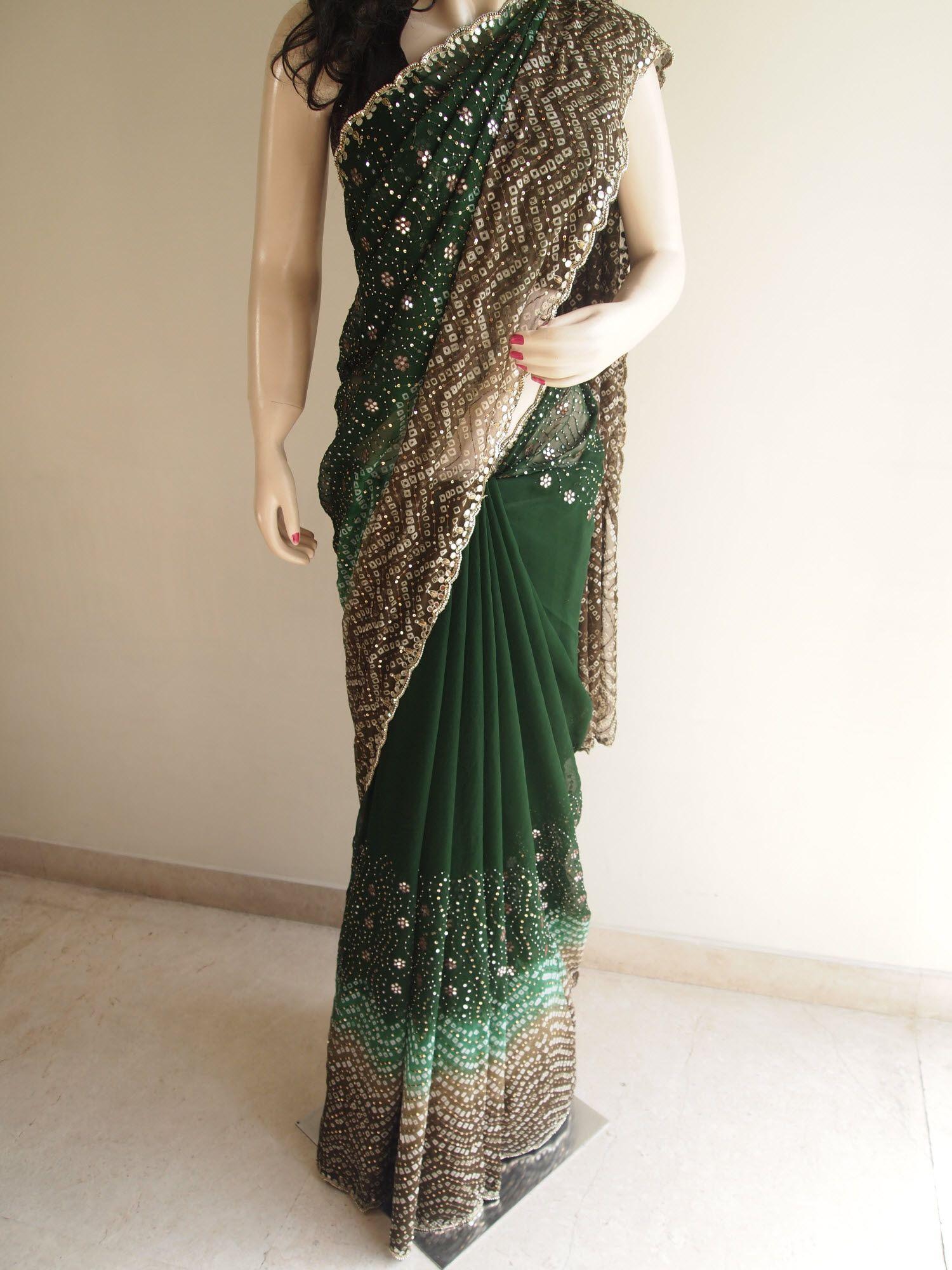 Bottle Green Pure Chiffon Saree With Mirror Work Pure Chiffon Sarees Chiffon Saree Pure Chiffon