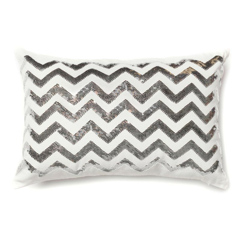 Loloi P0122 Rectangular Decorative Pillow Down Fill Silver White