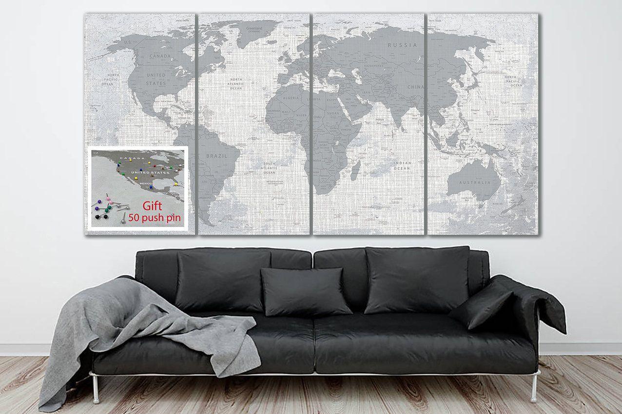 World Map Canvas Gray World Map Art World Map Poster Travel Map Print World Map Push Pin Political Map Decor Worldmap World Map Art Map Canvas World Map Canvas