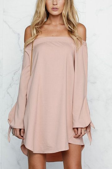 11b92b86a7d1 Pink Sexy Off-shoulder Mini Dress With Knot Detail