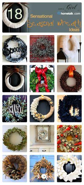 DIY:: 18  Sensational Seasonal Wreath Ideas ! (Each with separate tutorials)