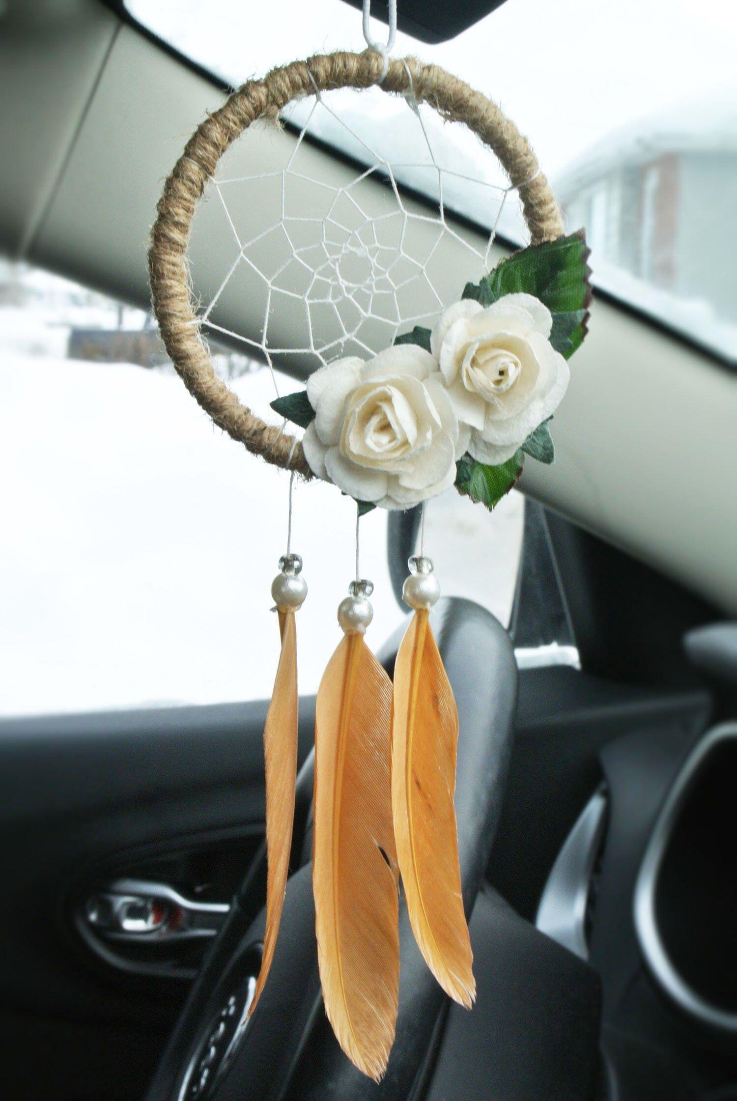Handmade Crochet Fiat 500 Mirror Hanging Car Decoration Accessory Blue Design