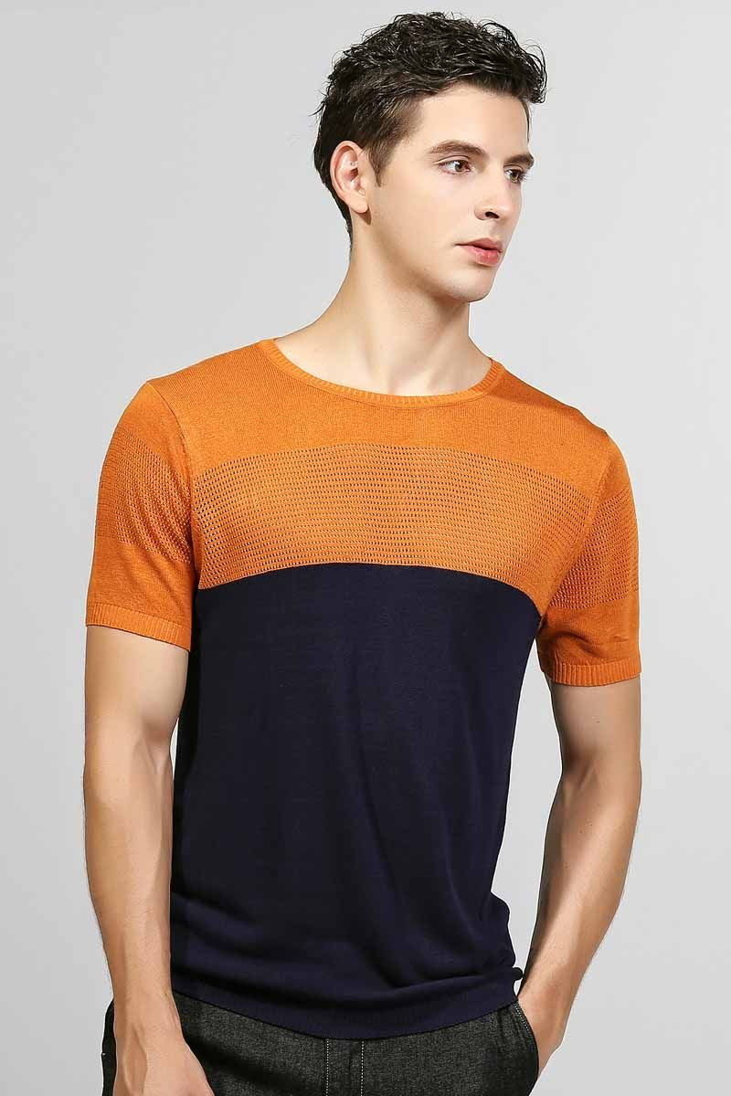 Navy contrast orange hollow out short sleeve sweater | Shorts ...