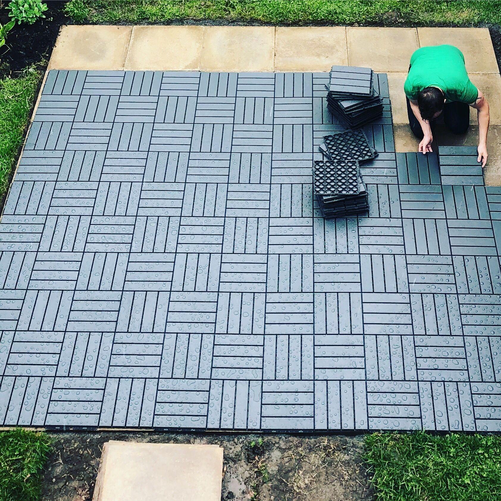 Our 350 Diy Patio With Ikea S Runnen Deck Blocks In 2020 Diy