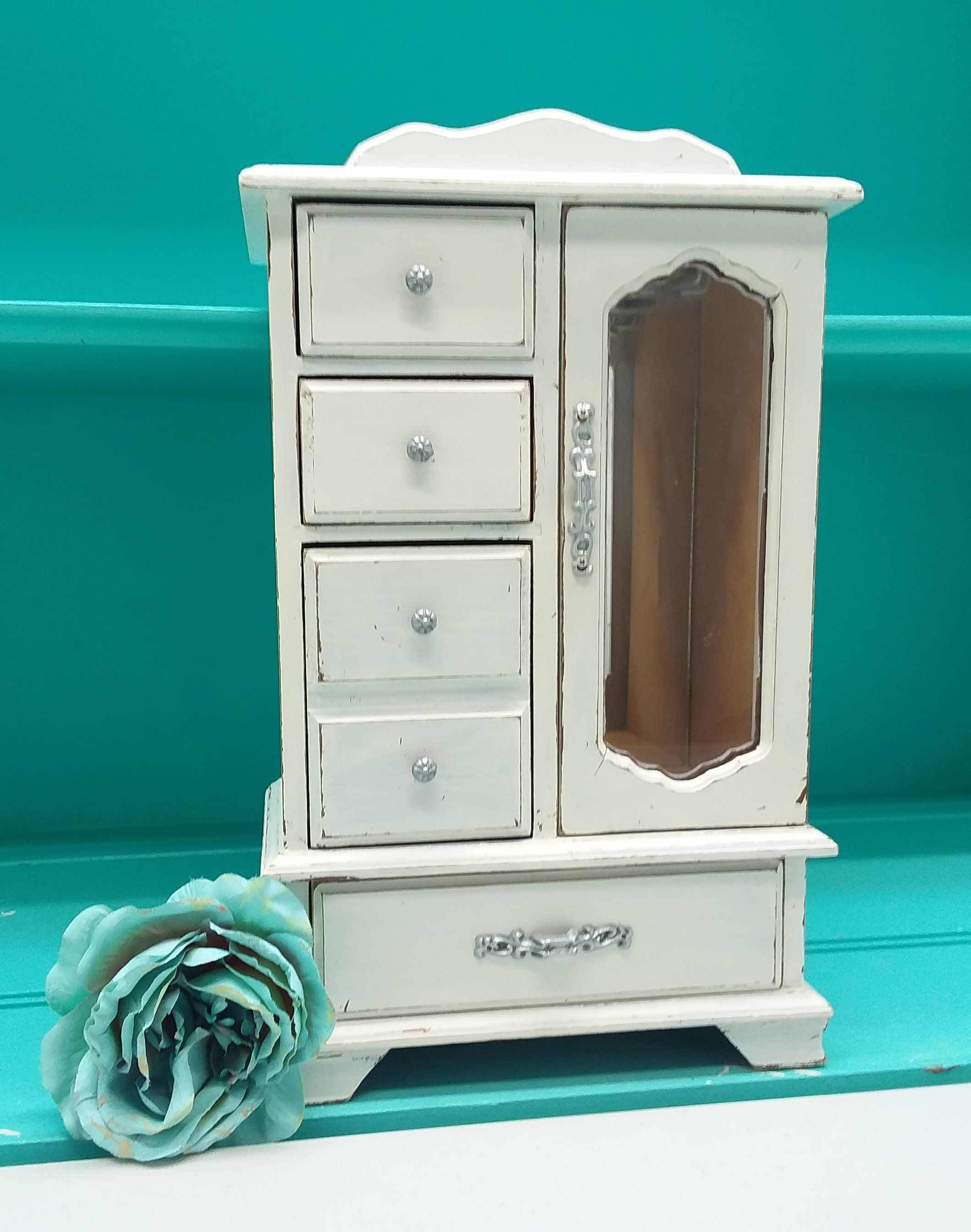 Shabby Chic Vintage Wooden Jewelry Box Armoire And Music Box Painted Off White And Distressed Upcycled Refurbished Rustic Jewelry Box With Images Wooden Jewelry Boxes Rustic Jewelry Box Shabby Chic Jewellery