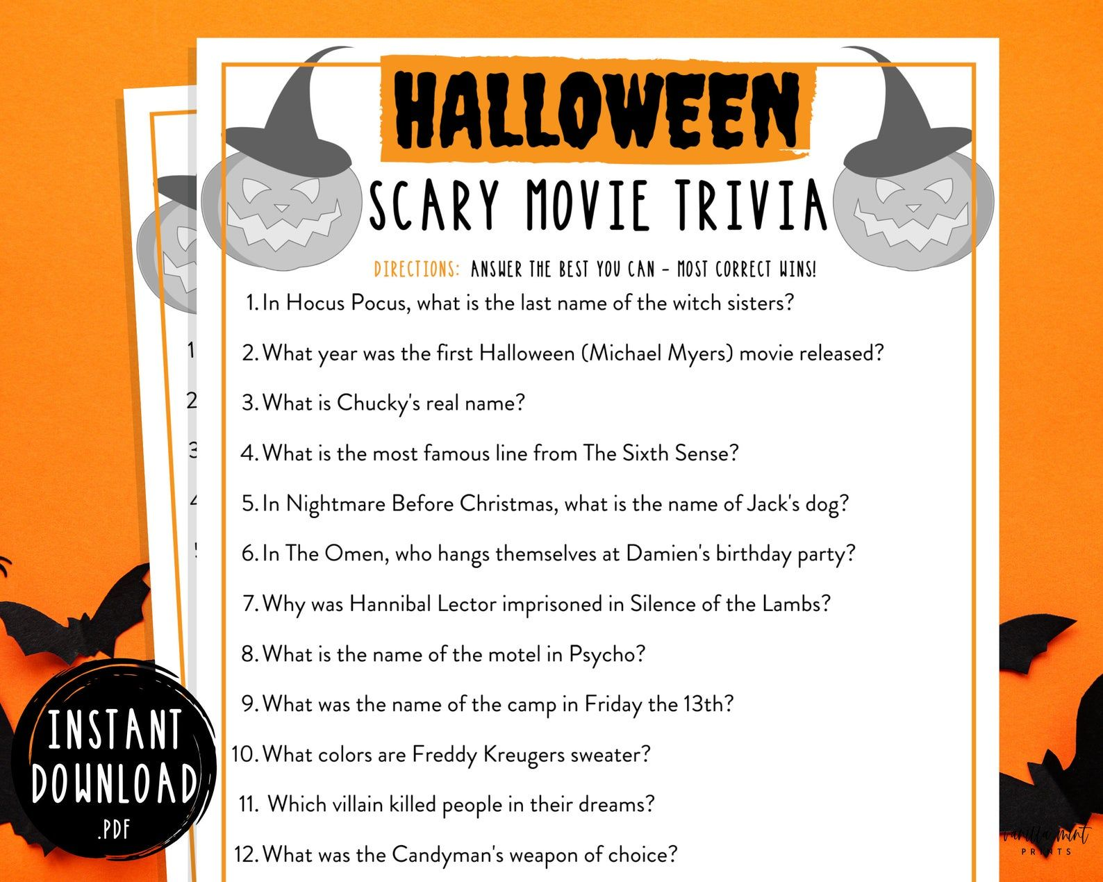 Spooky Facts About Halloween 2020 Halloween Trivia Game Halloween Printable Games Scary   Etsy in