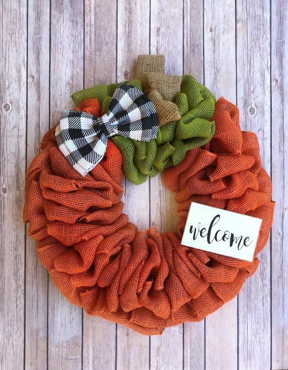 Photo of Pumpkin wreath | Autumn wreath | Buffalo Plaid Wreath | Front door wreath | Burlap wreath | Peasant wreath