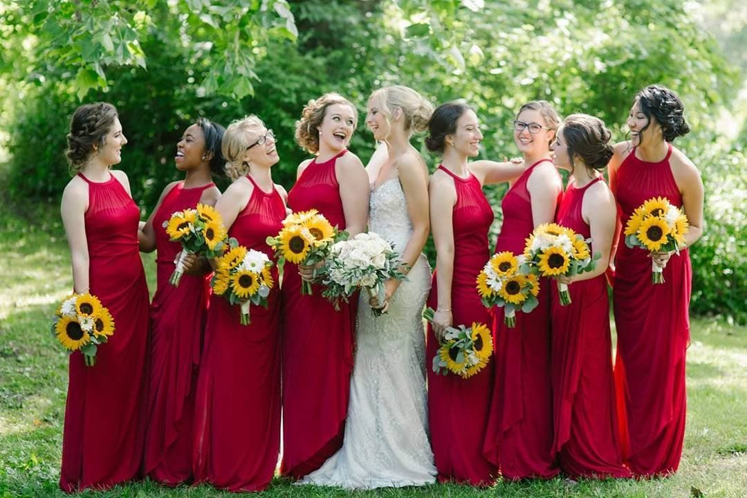 Katherine Dolen S Bridesmaids Wore These Apple Red High Neck Bridesmaid Dress Red Wedding Dresses Apple Red Bridesmaid Dresses Davids Bridal Bridesmaid Dresses