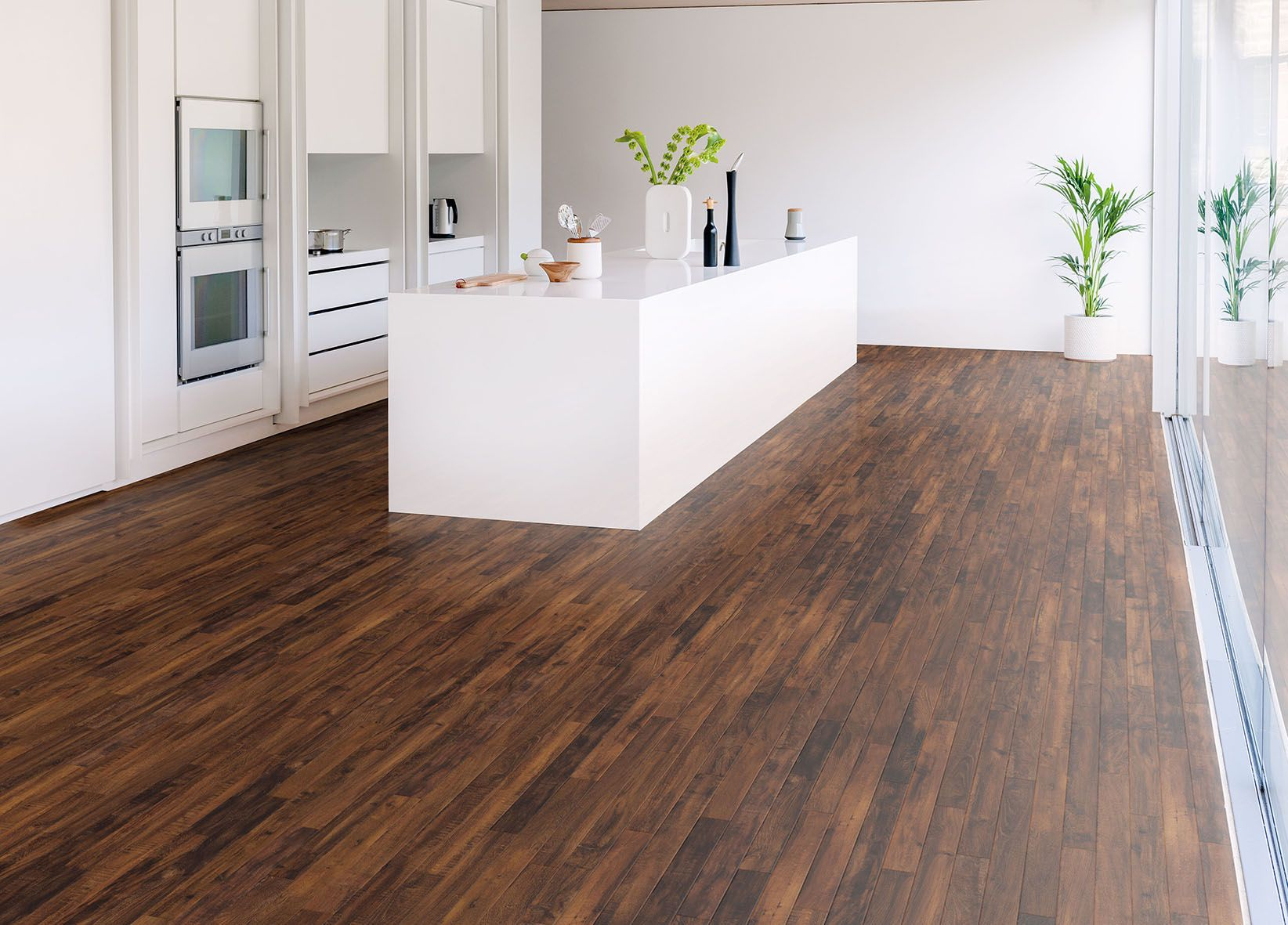 Rp105 double smoked acacia modern kitchen ls cm 1 for Vinyl kitchen floor tiles