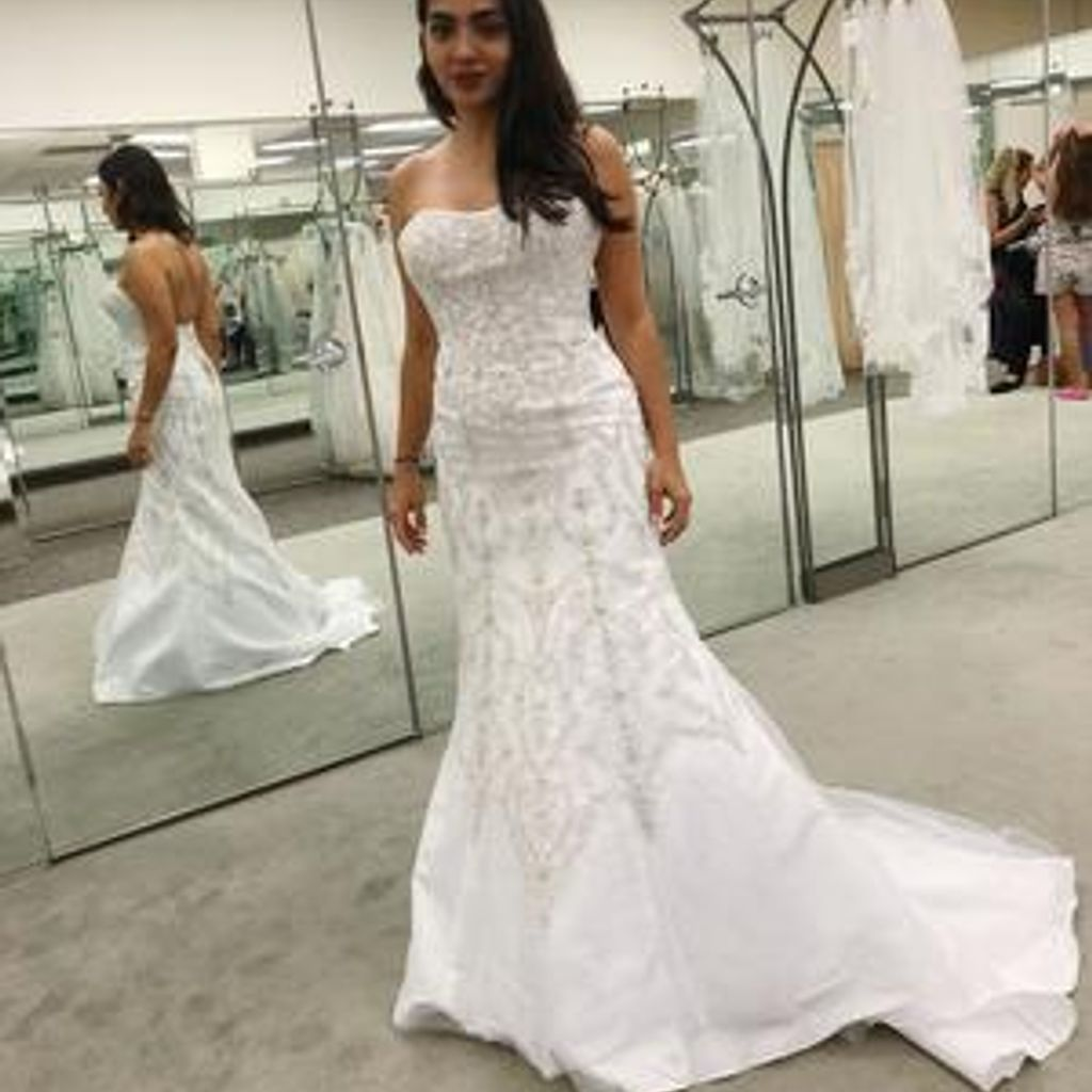 Oleg Cassini Tulle And Crystal Mermaid Wedding Dre With Images