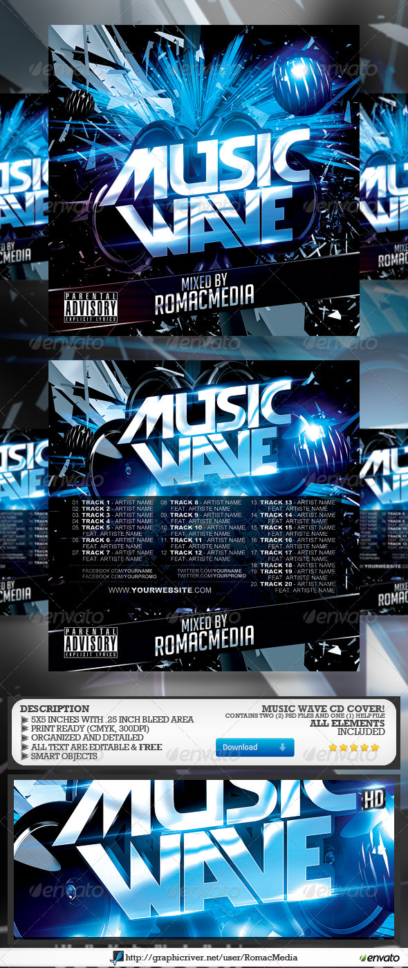 music wave cd cover | more cd cover and print templates ideas, Powerpoint templates