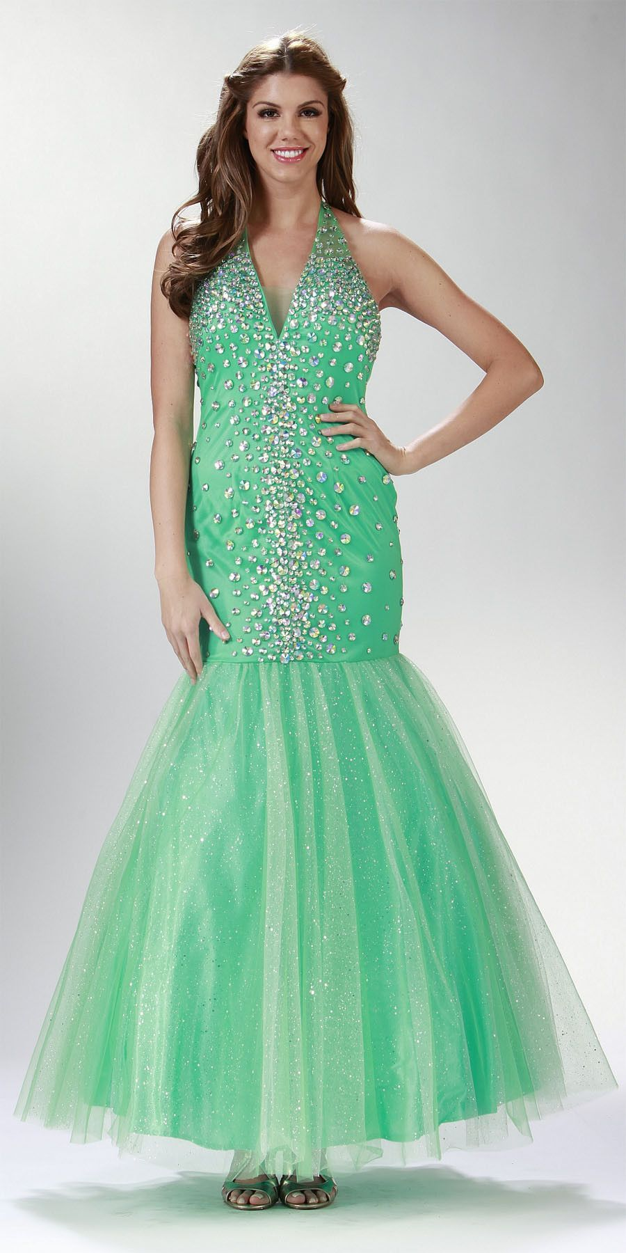 ON SPECIAL LIMITED STOCK - Rhinestone Studded Long Mint Green Trumpet Prom Dress