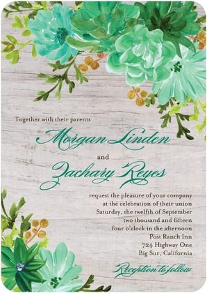 This wedding invitation has an abundance of nature in its painted - invitation template nature