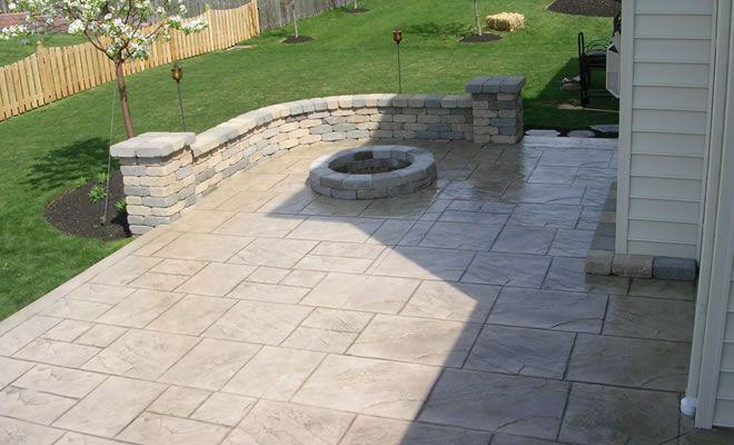 Embossed Concrete Patio Paver Walls Custom Plus Concrete Patio Designs Concrete Patio Outdoor Renovation