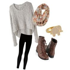 Casual outfit...Love those lace up boots!