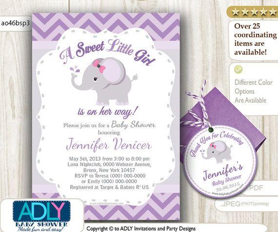 grey purple elephant invitation baby shower por