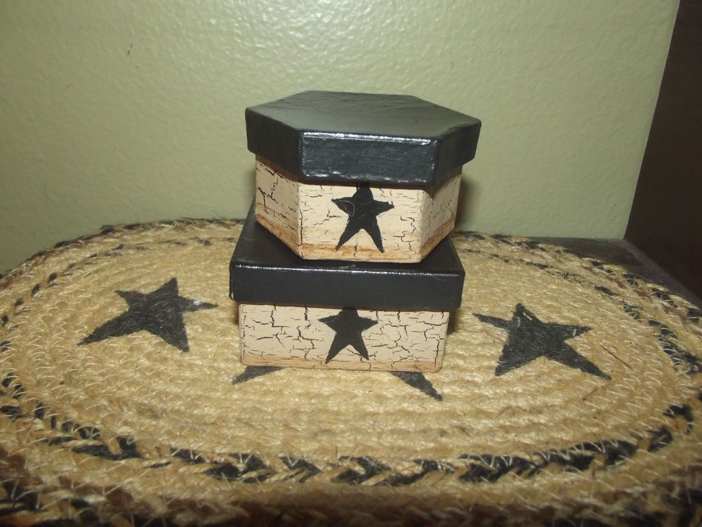 Primitive Mini Nesting Boxes Set of 2 ~ Crackle Tan & Black Stars  Country Decor #NaivePrimitive