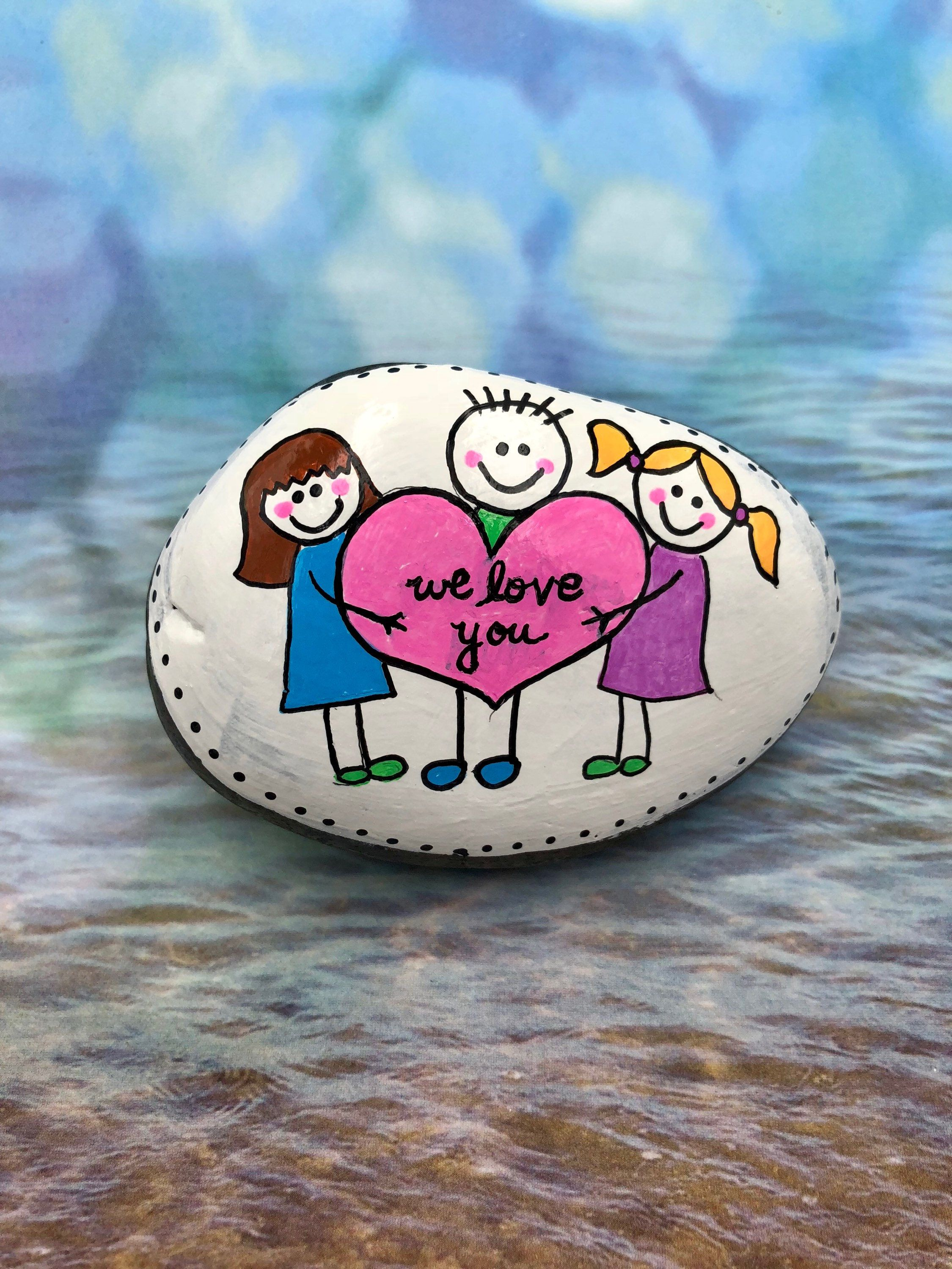 Set Of Family Stones Your Family Rocks Great Gift For Mom Or Grandma.