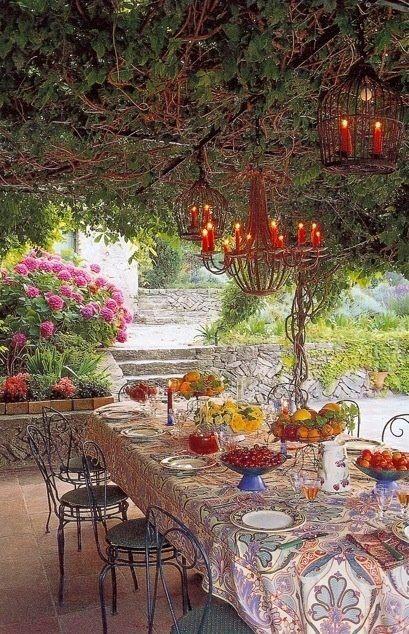 Outdoor chandeliers under Pergola