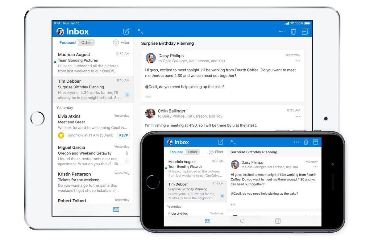 آوتلوك على Ios يأتي بتصميم جديد وإيماءات مخصصة Microsoft